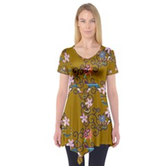 Textile Flowers Pattern Short Sleeve Tunic