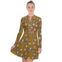 Textile Flowers Pattern Long Sleeve Panel Dress by HermanTelo