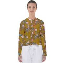 Textile Flowers Pattern Women s Slouchy Sweat