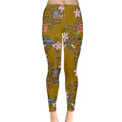 Textile Flowers Pattern Inside Out Leggings