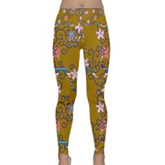 Textile Flowers Pattern Lightweight Velour Classic Yoga Leggings
