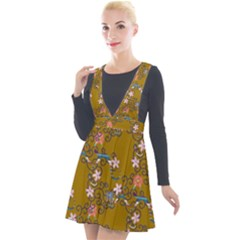 Textile Flowers Pattern Plunge Pinafore Velour Dress
