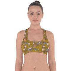 Textile Flowers Pattern Cross Back Hipster Bikini Top