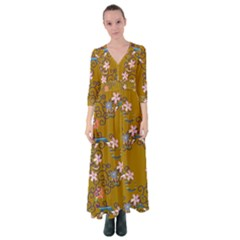 Textile Flowers Pattern Button Up Maxi Dress