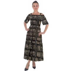 Stone Patch Sidewalk Shoulder Straps Boho Maxi Dress  by HermanTelo
