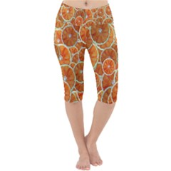 Oranges Background Lightweight Velour Cropped Yoga Leggings by HermanTelo