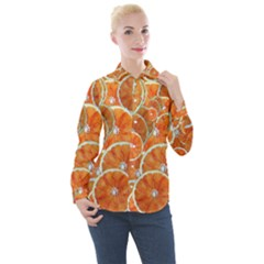 Oranges Background Women s Long Sleeve Pocket Shirt