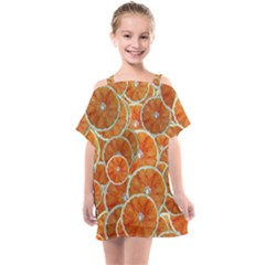 Oranges Background Kids  One Piece Chiffon Dress