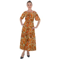 Oranges Background Shoulder Straps Boho Maxi Dress  by HermanTelo
