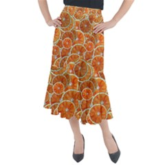 Oranges Background Midi Mermaid Skirt