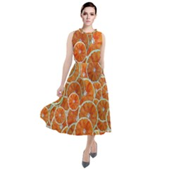 Oranges Background Round Neck Boho Dress