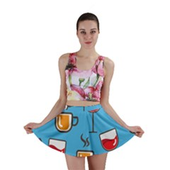 Cups And Mugs Blue Mini Skirt