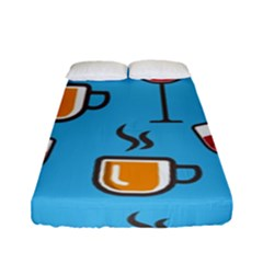 Cups And Mugs Blue Fitted Sheet (full/ Double Size)