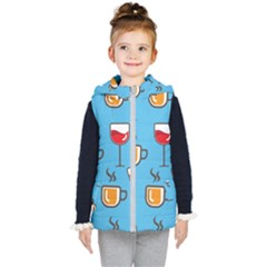 Cups And Mugs Blue Kids  Hooded Puffer Vest