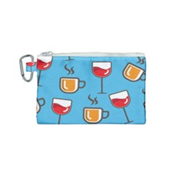 Cups And Mugs Blue Canvas Cosmetic Bag (small)