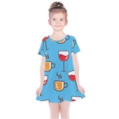 Cups And Mugs Blue Kids  Simple Cotton Dress