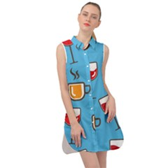 Cups And Mugs Blue Sleeveless Shirt Dress by HermanTelo