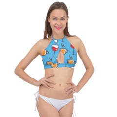 Cups And Mugs Blue Cross Front Halter Bikini Top