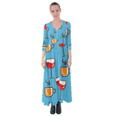 Cups And Mugs Blue Button Up Maxi Dress