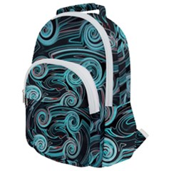Background Neon Abstract Rounded Multi Pocket Backpack