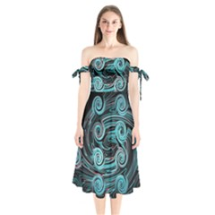 Background Neon Abstract Shoulder Tie Bardot Midi Dress by HermanTelo