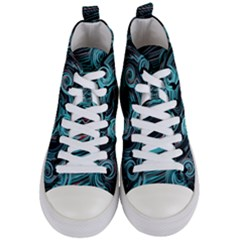 Background Neon Abstract Women s Mid Top Canvas Sneakers
