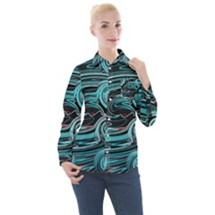 Background Neon Abstract Women s Long Sleeve Pocket Shirt