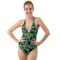 Flowers Pattern Background Halter Cut Out One Piece Swimsuit
