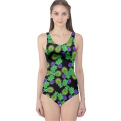 Flowers Pattern Background One Piece Swimsuit