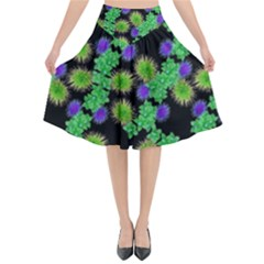 Flowers Pattern Background Flared Midi Skirt by HermanTelo