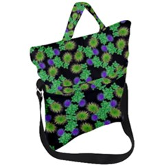 Flowers Pattern Background Fold Over Handle Tote Bag by HermanTelo