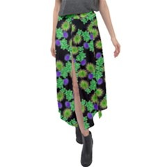 Flowers Pattern Background Velour Split Maxi Skirt by HermanTelo