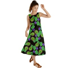 Flowers Pattern Background Summer Maxi Dress