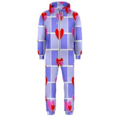 Love Hearts Valentine Decorative Hooded Jumpsuit (men)  by Jojostore