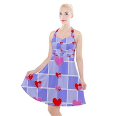 Love Hearts Valentine Decorative Halter Party Swing Dress