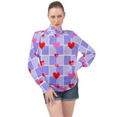 Love Hearts Valentine Decorative High Neck Long Sleeve Chiffon Top by Jojostore