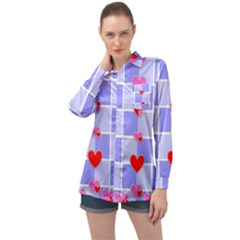 Love Hearts Valentine Decorative Long Sleeve Satin Shirt