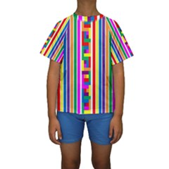Rainbow Geometric Spectrum Kids  Short Sleeve Swimwear by Mariart