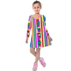 Rainbow Geometric Spectrum Kids  Long Sleeve Velvet Dress by Mariart
