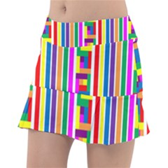 Rainbow Geometric Spectrum Tennis Skirt