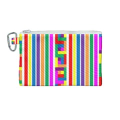 Rainbow Geometric Spectrum Canvas Cosmetic Bag (medium)
