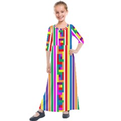 Rainbow Geometric Spectrum Kids  Quarter Sleeve Maxi Dress