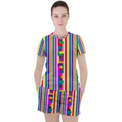 Rainbow Geometric Spectrum Women s Tee And Shorts Set by Mariart