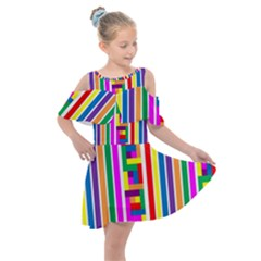 Rainbow Geometric Spectrum Kids  Shoulder Cutout Chiffon Dress