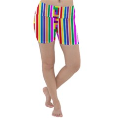 Rainbow Geometric Spectrum Lightweight Velour Yoga Shorts