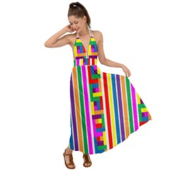 Rainbow Geometric Spectrum Backless Maxi Beach Dress
