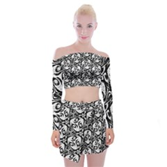 Fabric Pattern Off Shoulder Top With Mini Skirt Set