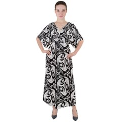 Fabric Pattern V-neck Boho Style Maxi Dress by AnjaniArt