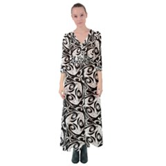Fabric Pattern Button Up Maxi Dress by AnjaniArt