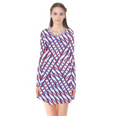 Abstract Chaos Confusion Long Sleeve V Neck Flare Dress